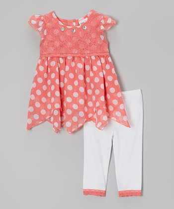 Pink & White Polka Dot Layered Tunic & Leggings - Infant