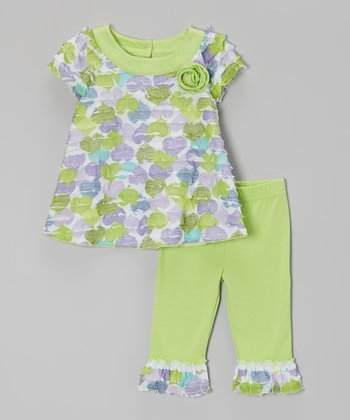 Green Floral Ruffle Tunic & Leggings - Infant