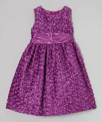 Purple Rosette Soutache Dress - Girls