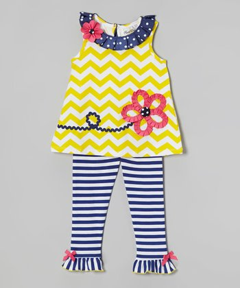 Yellow Zigzag Tunic & Stripe Leggings - Infant, Toddler & Girls
