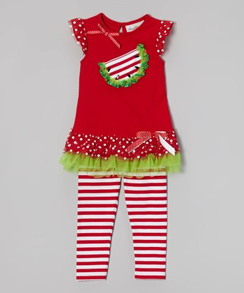 Red Watermelon Tunic & Stripe Leggings - Infant, Toddler & Girls