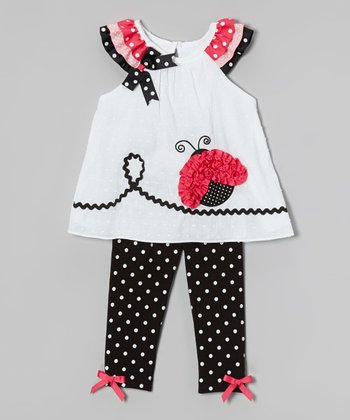 White Butterfly Tunic & Black Polka Dot Leggings - Infant, Toddler & Girls