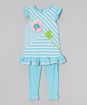 Blue & White Stripe Tunic & Leggings - Toddler & Girls