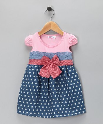 Pink Denim Polka Dot Dress - Girls