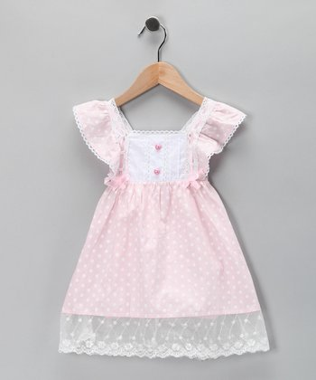 Di Vani Pink Polka Dot Bib Dress - Toddler