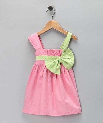Pink & Lime Bow Dress - Toddler