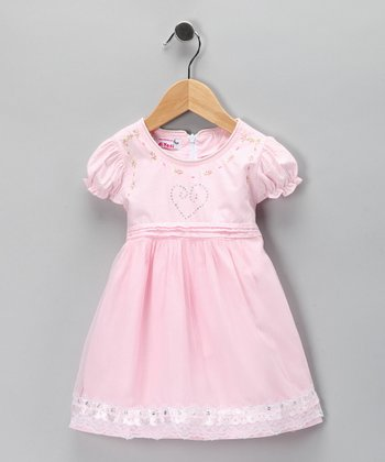 Pink Floral Embroidered Dress - Toddler