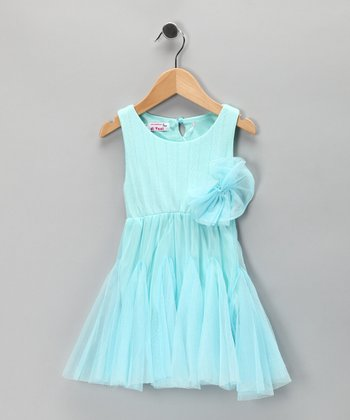 Blue Chiffon Rosette Dress - Toddler & Girls