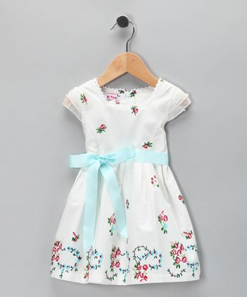 White & Blue Floral Wreath Dress - Toddler