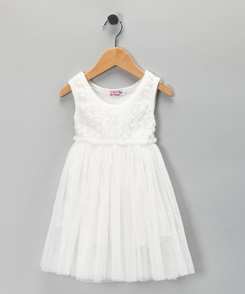 Di Vani White Floral Chiffon Dress - Toddler & Girls