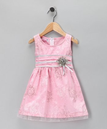 Pink Floral Rosette Ribbon Dress - Toddler