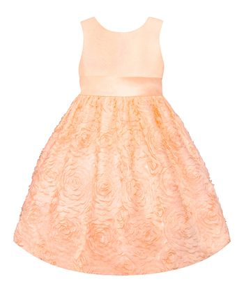 Peach Floral  Dress - Toddler, Girls & Girls' Plus