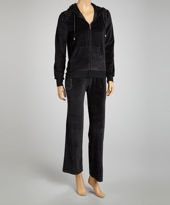 Black Studded Velour Zip-Up Hoodie & Lounge Pants