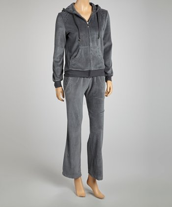 Charcoal Studded Velour Zip-Up Hoodie & Lounge Pants