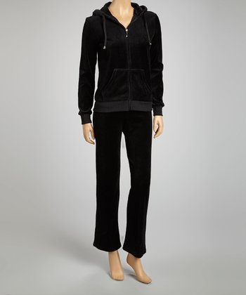 Black Velour Zip-Up Hoodie & Lounge Pants
