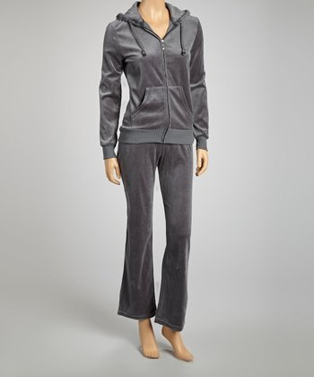 Charcoal Velour Zip-Up Hoodie & Lounge Pants
