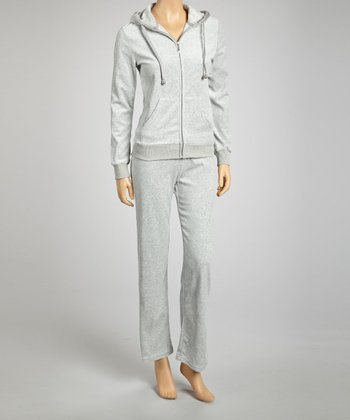 Heather Gray Velour Zip-Up Hoodie & Lounge Pants