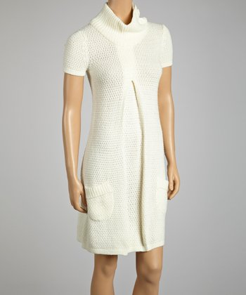 Ivory Short-Sleeve Sweater Dress