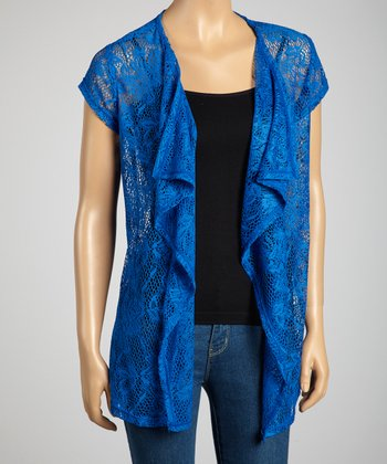 Royal Blue Lace Short-Sleeve Open Cardigan