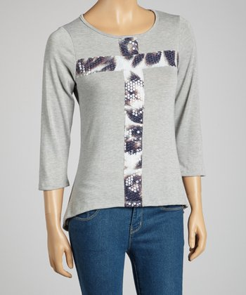 Gray Sequin Cross Long-Sleeve Top