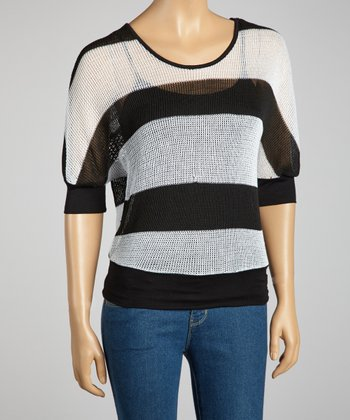 Black & Silver Crocheted Back Dolman Top
