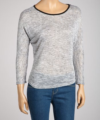 Gray Stripe Lace-Back Three-Quarter Sleeve Top