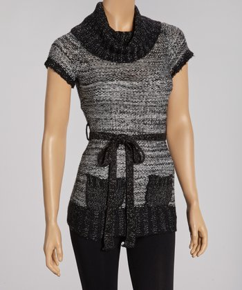 Black & Silver Cowl Neck Sweater Tunic