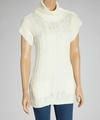 Ivory Short-Sleeve Sweater Tunic