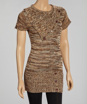 Brown Button Short-Sleeve Sweater Tunic
