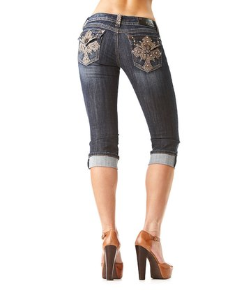 Dark Wash Cross Capri Jeans