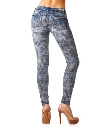 Light Wash Floral Flat-Pocket Skinny Jeans
