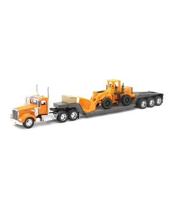 Kenworth W900 Lowboy Trailer & Construction Tractor Set