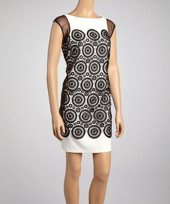 Black & Ivory Circle Lace Shift Dress