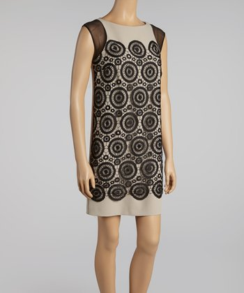 Arena & Black Circle Lace Shift Dress
