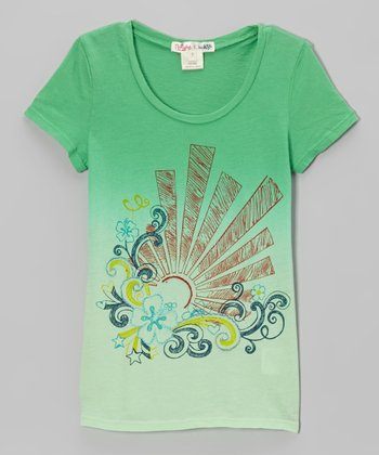 Shamrock Dip Dye Sunburst Tee - Toddler & Girls
