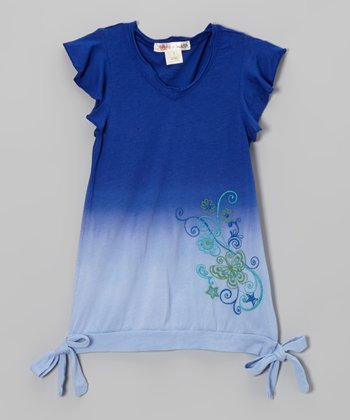 Prussian Blue Dip Dye Tropic Tie Top - Girls