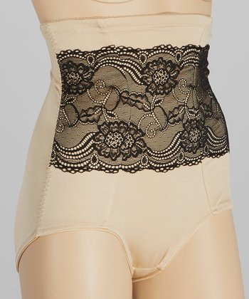 Nude Lace Overlay High-Waisted Shaper Briefs - Women & Plus