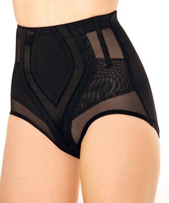 Black Sheer Panel High-Waisted Shaper Briefs - Women & Plus