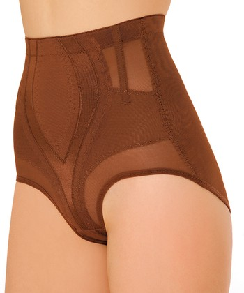 Latte Sheer Panel High-Waisted Shaper Briefs - Women & Plus