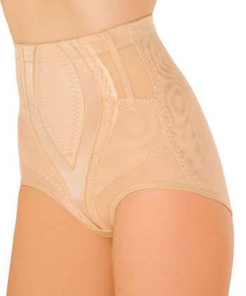 Nude Sheer Panel High-Waisted Shaper Briefs - Women & Plus