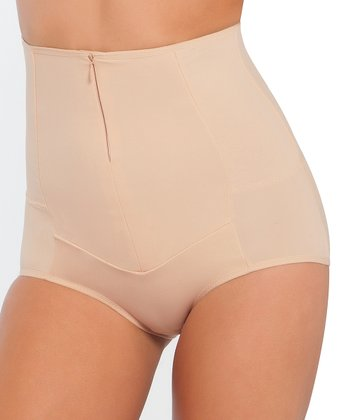 Nude Zip-Up High-Waist Shaper Briefs - Women & Plus