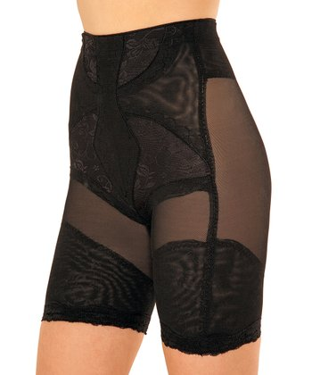 Black Lace Sheer Panel Shaper Shorts - Women & Plus