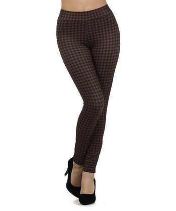 Coffee & Black Plaid Jeggings - Women