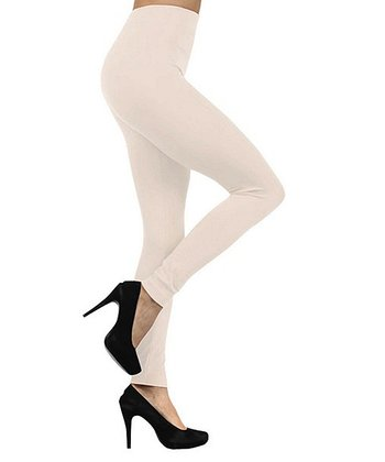 Ivory Seamless Fleece-Lined Leggings