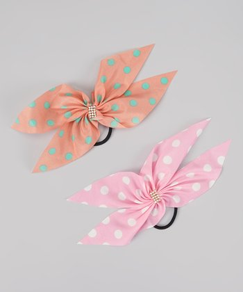 Coral & Pink Polka Dot Rhinestone Bow Hair Tie Set