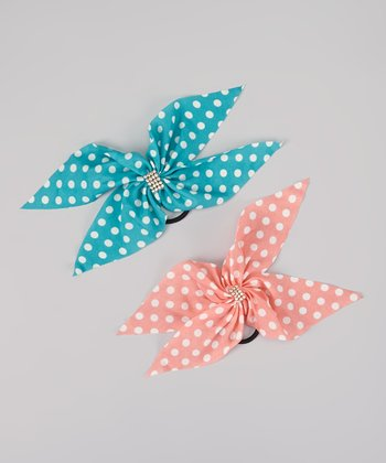 Coral & Blue Polka Dot Rhinestone Bow Hair Tie Set
