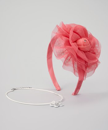 Coral Flower Headband & Butterfly Necklace