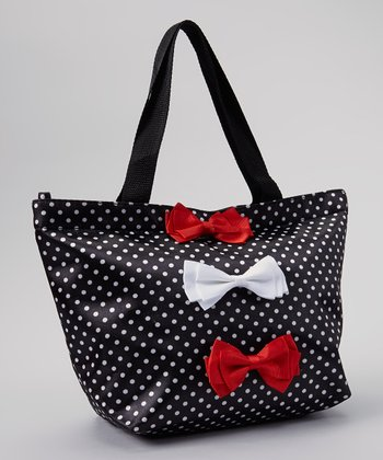 Black & White Polka Dot Bow Tote