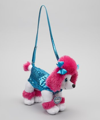 Turquoise Checker Poodle Purse