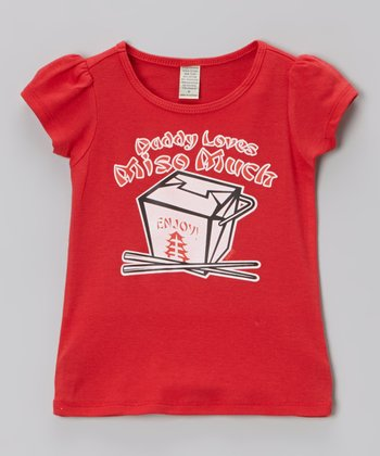 Red 'Daddy Loves Miso Much' Tee - Infant, Toddler & Girls